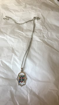 silver-colored curb-link necklace with multicolored gem pendant Roslyn, 11576
