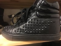 svart spike studded svart lær high-top sneakers Tromsø, 9016