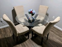 Glass Round Dining Table with 4 Chairs Centreville