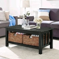 Walker Edison Storage Coffee Table with Totes Stafford, 77477