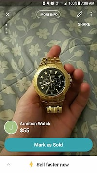 round gold chronograph watch with gold link bracel Bellefonte, 16823