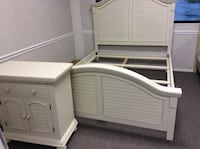 white and gray wooden bed frame Tomball, 77375