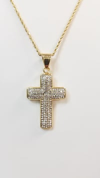 """24"""" 1mm Rope Chain w/Iced Cross Pendant"""