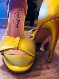 Pair of yellow leather open-toe heeled sandals Fresno, 93705