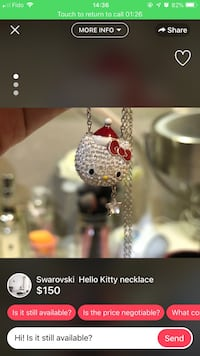 Silver link chain hello kitty pendant necklace