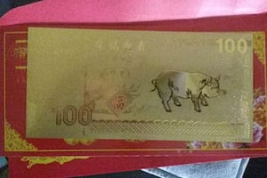 Gold plated good luck pig bank note certified