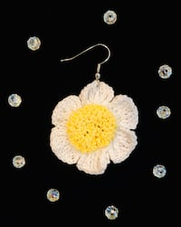 Daisy Earrings, Crochet Handmade gifts, Unique Hippie Daisy Earrings Burlington, 01803