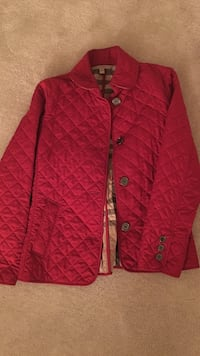 Red button up long sleeve jacket Burberry Frankby Quilted jacket condition is good, barely worn Fairfax, 22030