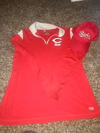 Women's Cincinnati reds authentic shirt size large with matching cap