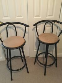 two black metal framed brown leather padded bar stools Middleboro, 02346