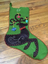 "Hand-Sewn Christmas Stocking with ""Ed"" Name"