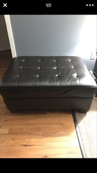 black leather tufted ottoman chair 38 km