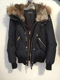 black and brown zip-up parka jacket 785 km