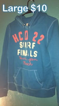 large blue and white HCO 22 surf finals pullover hoodie