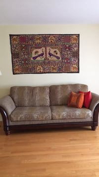 Brown and gray floral fabric 2-seat sofa Milton