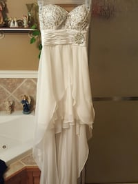 bead ruched white hi low chiffon gown 2