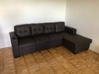 Brand new in box dark brown faux leather sectional sofa with 2 cup holder on arm rest warehouse sale  多伦多, M1V 1E9