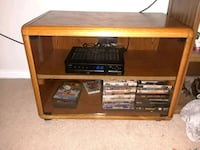 Wood tv stand with glass doors  132 mi