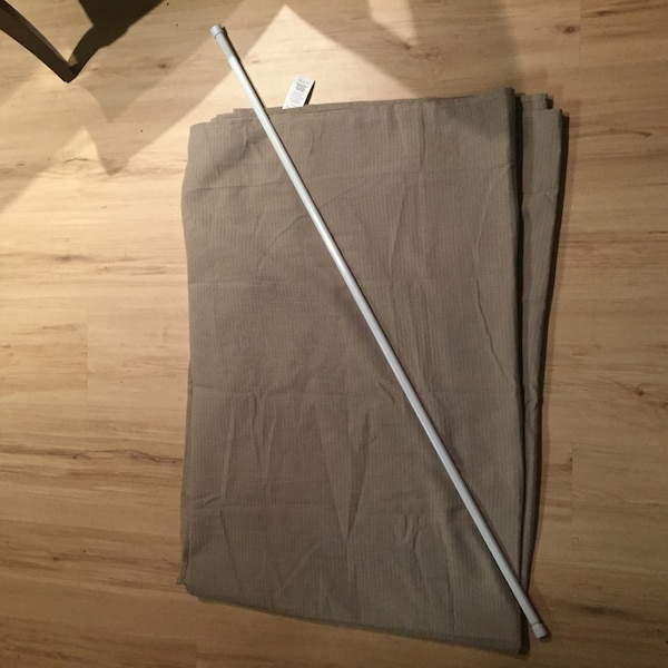 Tan Extra Long Shower Curtain and Tension Rod