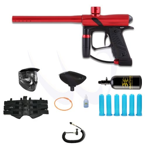 E1 Paintball Marker, Red with air tank and hopper