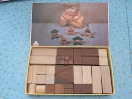 Vintage Tofa Czech Wooden Construction Building Blocks Toy Set