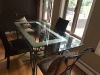 rectangular glass top table with four chairs dining set Denville, 07834