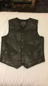 black Genuine Leather leather button-up vest Thornville, 43076