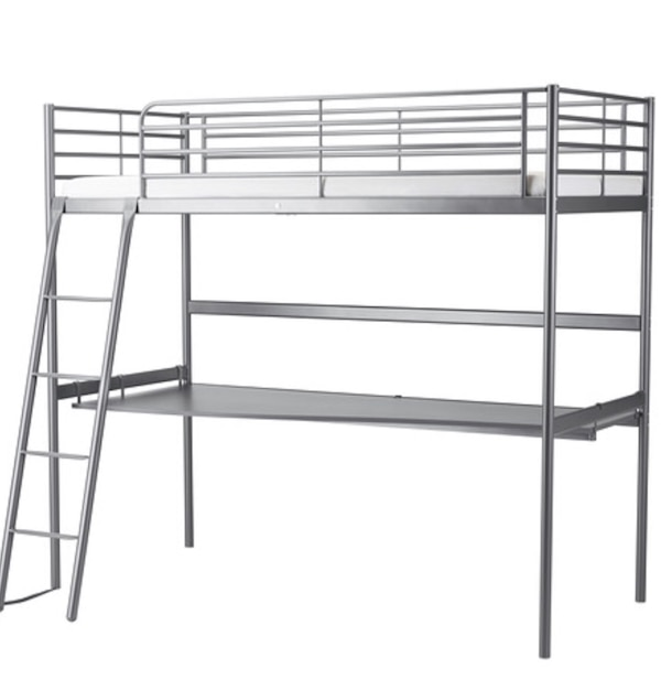 IKEA Gray metal loft bed frame and desk