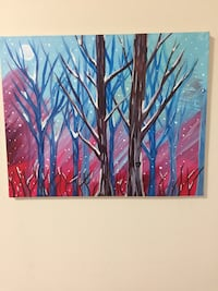 red, blue, and brown tree painting