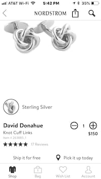 Sterling Silver cuff links David Donahue Nordstrom men's jewelry watch Bethesda, 20817