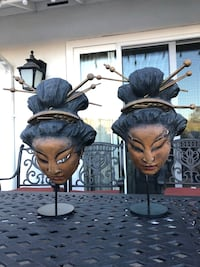 "2 handmade Japanese Geisha masks not sure if they're made of hardwood or bamboo stands 20"" tall pick up from Northridge area  Los Angeles, 91326"