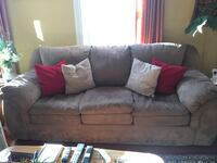 Brown suede couch, love seat, red chair that spins and pillows included Watertown, 02472