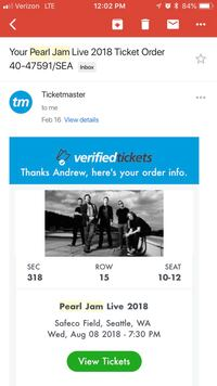 Three Pearl Jam tickets for sale !  Seattle