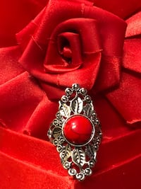 silver and red gemstone pendant Reedley, 93654