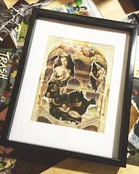 Cherub painting with black wooden frame Carleton Place