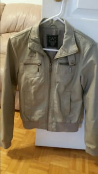 gray leather zip-up jacket Mississauga, L5M 5T9
