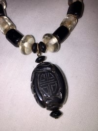 Oriental carved pendant black & clear art glass necklace/earrings set Hot Springs, 71901