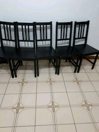 four black wooden armless chairs Toronto, M6J 1X3