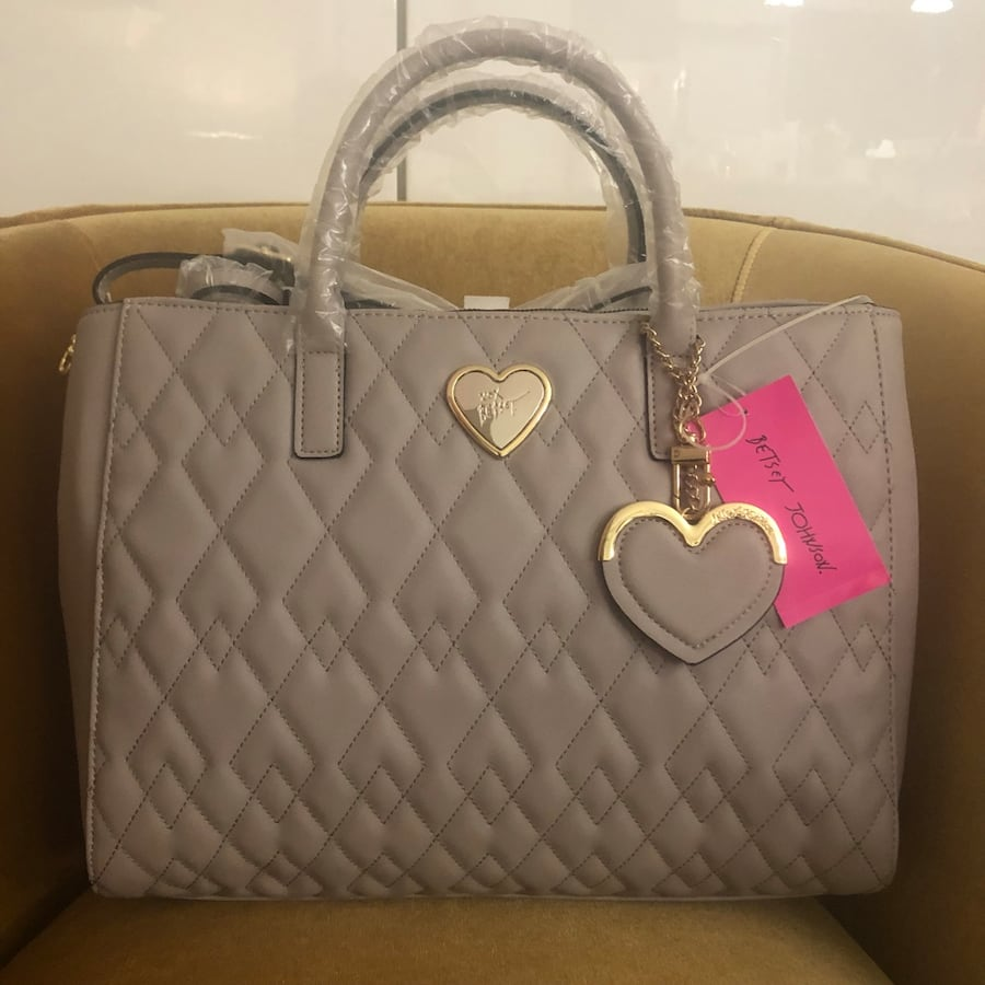 Betsey Johnson Diamond Quilted Structured Satchel - Grey - BRAND NEW