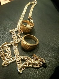 18k gold plated chain and rings set Brampton, L6T 3A5