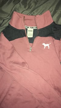 brown and black Victoria's Secret Pink half-zip sweater