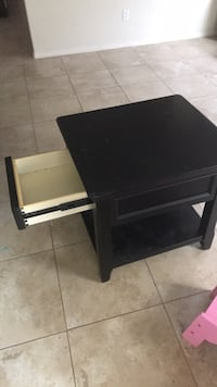 Black wooden single drawer side table
