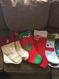 several Christmas socks