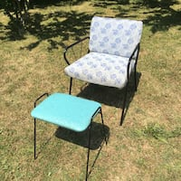 Midcentury vintage metal chair and turquoise vinyl stool Grimsby, L3M 2A9