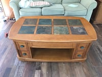 Coffee Table (lift top) solid oak with slate tile top; two matching end tables with cabinet starage Coosada, 36020