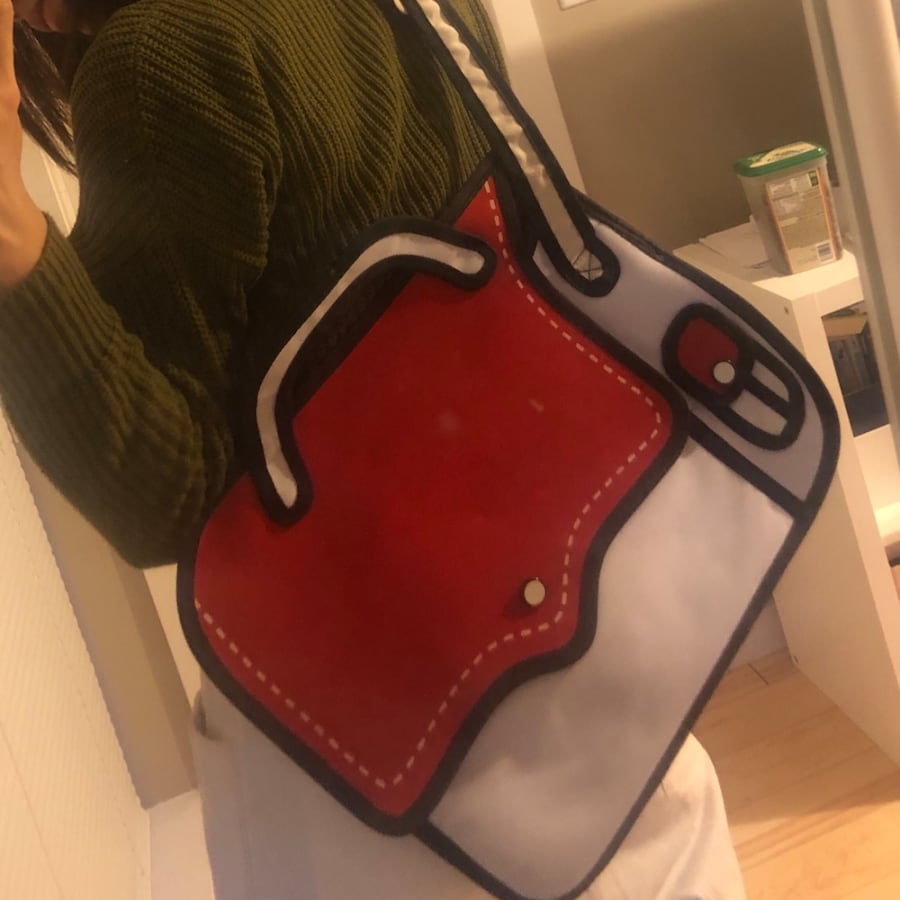 Red and White Cartoon Bag