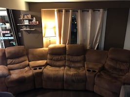 Suede recliner couch