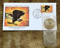 Desert storm collectible coin and First Day issue Riverbank, 95367