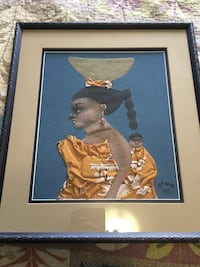 Nigerian sand wall art with wall mounting hardware on back in excellent used condition Airdrie, T4B 0P3