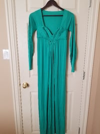 teal v-neck long-sleeve maxi dress